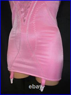 36D Pink Body Bra Girdle Open Bottom Brifer Lace Spandex Garters Vtg Style