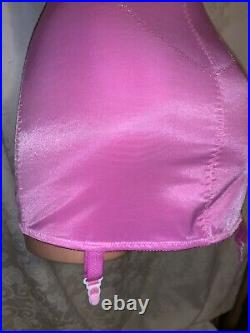36D Pink Bra Girdle Open Bottom All-in-One Briefer Lace Spandex Garters