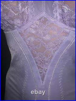 36 Lilac Purple Open Bottom Bra Girdle Garters One Pc Briefer Lace Soft Cup