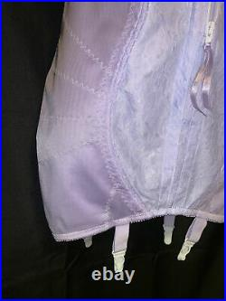 42 D Front Zip Briefer Open Bottom Bra Body Girdle Nylon Spandex Garters