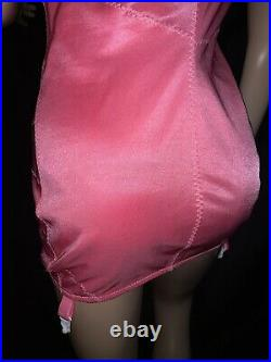 42 D Pink Briefer Bra Open Bottom One Pc Girdle Nylon Spandex Garters Zipper