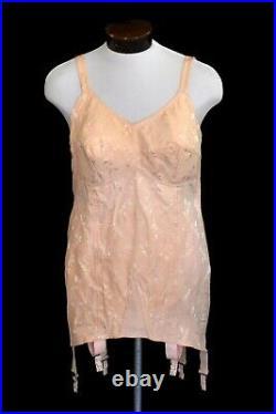 50s Pink Cotton All In One Girdle Open Bottom Boned Corset Metal Garters Bullet
