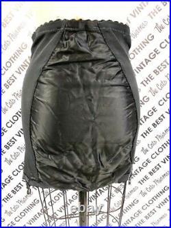 Black Open Bottom Girdle Formost 4 Garters Satin Insets & Sheer Black Panels 32