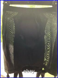 Black Open Bottom Girdle With 6 Garters Satin Insets & Sheer Black Panels