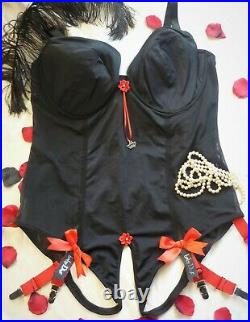 Black Red Gold Silky Corselete Body Girdle Open Bottom, Crotchless 6 Straps 46d