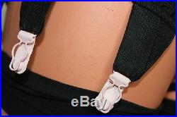 Black Spanky Tight Open Bottom Crotchless Girdle 6 Pink Metal Suspenders Size 12