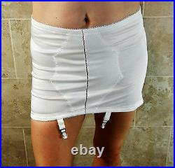 Crown Corsets Vtg Plus Sized White Medium Control Open Bottom 4 Garters 40 Nwot