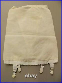 Flexnit Vtg 60s NEW Ivory Peek-a-boo Antron Spandex Open Bottom Garters Girdle S