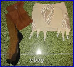 Ivory What Katie Did Open Bottom Girdle Garters & Stocking Set M pinup retro