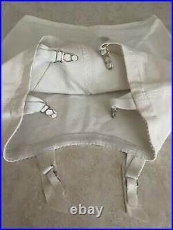 JC PENNEY VTG White Open Bottom Girdle #1056 6 Metal Garters High Waist LRG
