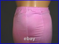 L XL 30 32 PINK Silky Slinky Satin Nylon Spandex Open Bottom Girdle Garter Belt