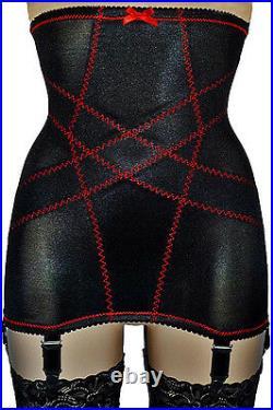MissX Hi Waist Vintage Style 6 Strap Girdle Black NYLONZ Made In UK