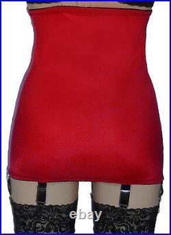 MissX Hi Waist Vintage Style 6 Strap Girdle RED NYLONZ Made In UK