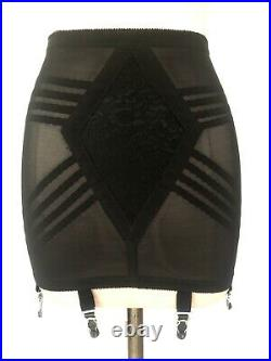 NEW BLACK LACE AND MESH OPEN BOTTOM GIRDLE FIRM SHAPING By RAGO SZ S/26
