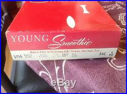 NIB 5715 Vintage White Young Smoothie body 34C open bottom girdle with 6 garters