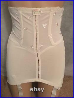 NOS RARE Vtg FORMFIT Rogers OPEN BOTTOM GIRDLE 6 Garters Size 14 Embroidered