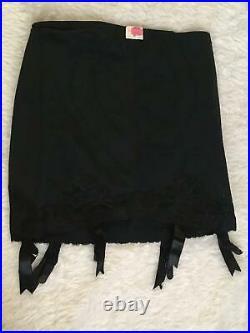 NOS Vtg VANITY FAIR Open Bottom GIRDLE 6 Garters LARGE L Lace Satin Coverings