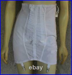 NOS Young Smoothie White Satin Girdle open bottom 6 garters vintage zipper