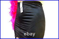 NWT Vintage L 30 Black Silky Thick Nylon Spandex Open Slip-on Girdle 6 Garters