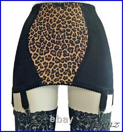 NYLONZ Leopard OB 6 Strap Girdle Black All Sizes (6 Suspenders) Vintage Style