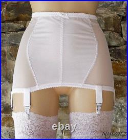 NYLONZ Vintage Style Power Mesh 6 Strap Girdle White All Sizes