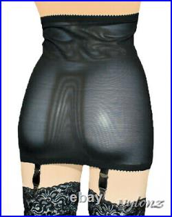 NYLONZ Viva Vintage Style 6 Strap OPEN BOTTOM Girdle BLACK Made In UK