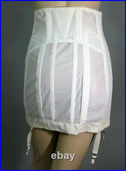 New Sears Nuback White Nylon Taffeta Open Bottom Garter Zipper Girdle Sz 35