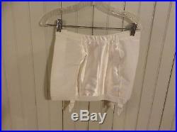 Nib 2 pair Vintage Wht Spantrol 422 open bottom girdle with 4 garters sz 33 zip up