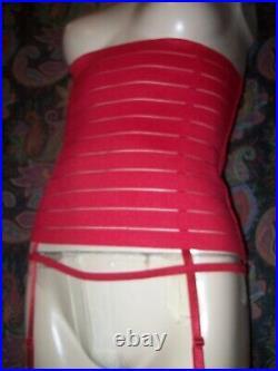 Oh La La Paris Red Open Bottom Garter Girdle Slimmer Corset Lingerie S
