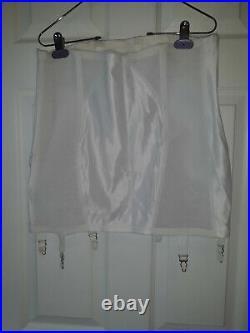 PLUS SIZE 36 xl Young Smoothie White Satin Girdle open bottom 6 garters vintage