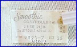 RAREVINTAGE60'sSMOOTHIESATIN PANEL GIRDLE OPEN BOTTOM CORSET GARTERS SIZE 35