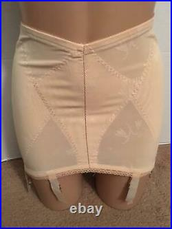 RARE Vtg Open Bottom GIRDLE & LONG LEG 6 Garters lot Set LARGE L Floral Ivory