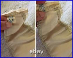 RARE Vtg SATIN Silk Skin Open Bottom GIRDLE Garters BRA Lot Set M Medium XS 34B