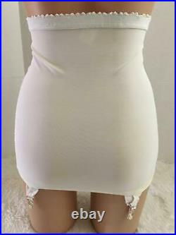 RARE Vtg UNIQUE FRONT Open Bottom Girdle 30 L LARGE Tru-Health White Garters