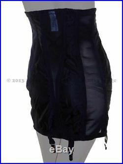 Rago 1294 High Waist Open Bottom Girdle 6 Metal Garters Side Zipper, Black, 8XL