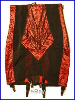 Rago 1294 High Waist Open Bottom Girdle 6 Metal Garters Side Zipper, Red/Blk, M