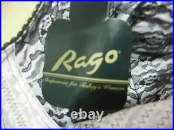 Rago 9357 Lace Full Slip Open Bottom Girdle Bullet Bra 6 Garters Pink/Black 44DD