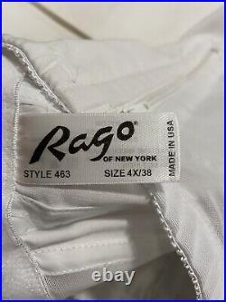 Rago White 4X/38 High Waist Side Zip Garter Girdle Shapewear Open Bottom 1294