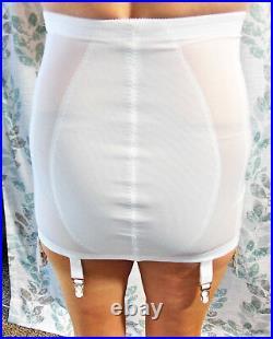 Rare! Flexees Vintage Sexy White Satin Open Bottom Girdle 4 Garters M L Nwt