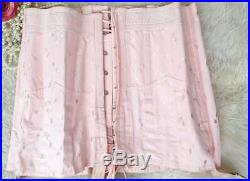 Rare Laced Boned Vtg AVRO Very Strict Open Bottom Corset Girdle Garters W34-35