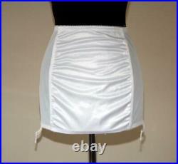 SEXY VINTAGE WHITE NYLON SATIN OPEN BOTTOM GIRDLE SUSPENDERS Size 32