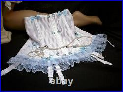 Sissy 6 Suspenders Open Bottom Cincher Girdle Corset Blue Frilly Lace Satin Bows