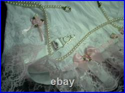 Sissy White Waist Cincher Open Bottom 6 Suspender Girdle Corset Pink Satin Bows