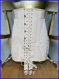 Stunning Open Bottom Girdle Pink By Gossard 6 Suspender Waist Size 27 A-173