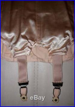 Unworn Vintage 1950s Pink Satin Open Bottom Girdle Garter Belt w Box Pinup S