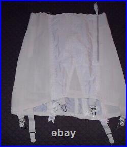 VINTAGE Girdle Garters Side Zipper Open Bottom White Sz 32 X large Lot of 4