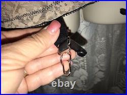 VTG 38D L Beige & Black Body Shaper Girdle Bustier Corset open bottom 6 Garters