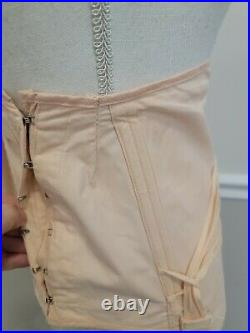 VTG Corset Girdle Garters Lacing Boning Open Bottom Pale Pink Size 35 Model 900