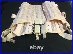 VTG Corset pink satin brocade such Open Bottom Girdle Boning Fan Lacing Garters