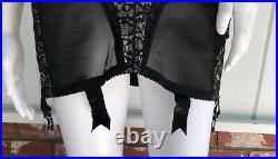 VTG Rondeau Lilyette Black Lace Open Bottom Girdle Over Bust Corset Garters 36